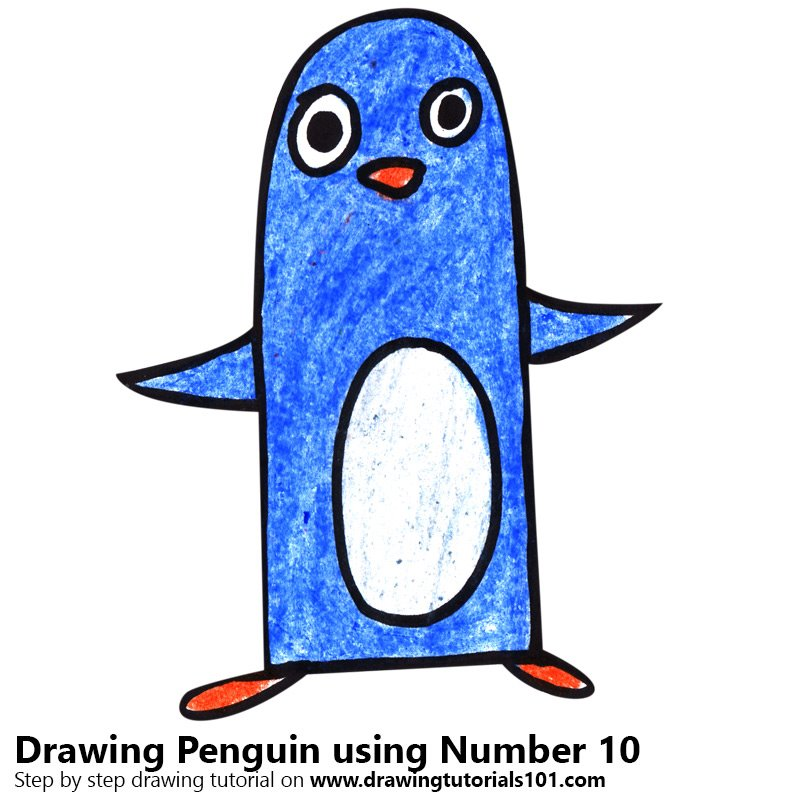 Penguin using Number 10 Color Pencil Drawing