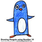 How to Draw a Penguin using Number 10