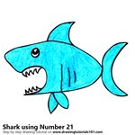 How to Draw a Shark using Number 21