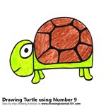 How to Draw a Turtle using Number 9