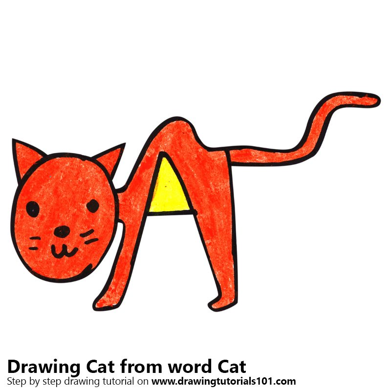 Learn How To Draw A Cat From Word Cat Animals With Their Names