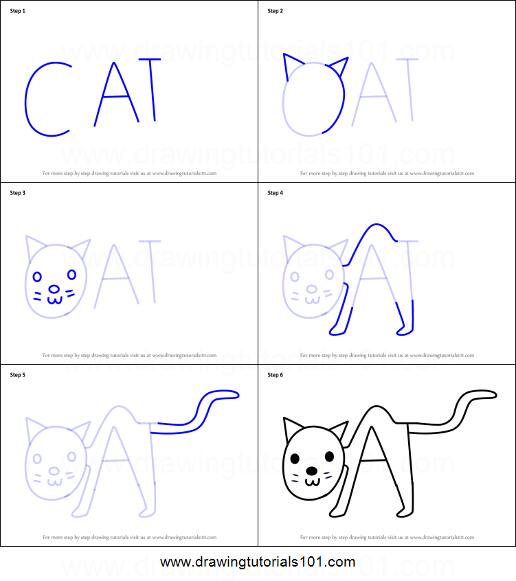 How To Draw A Cat From Word Cat Printable Step By Step Drawing Sheet