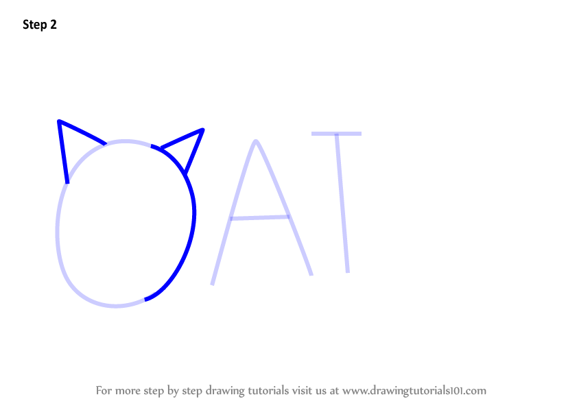 how to draw a cat with the word cat