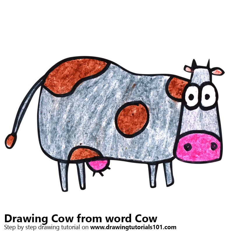 Cow from word Cow Color Pencil Drawing