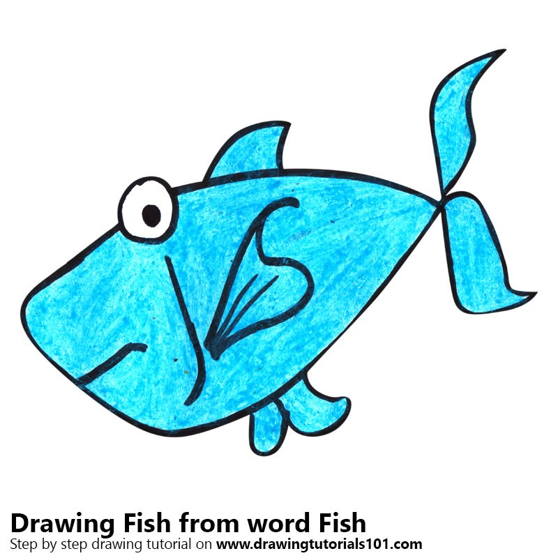 Fish from word Fish Color Pencil Drawing
