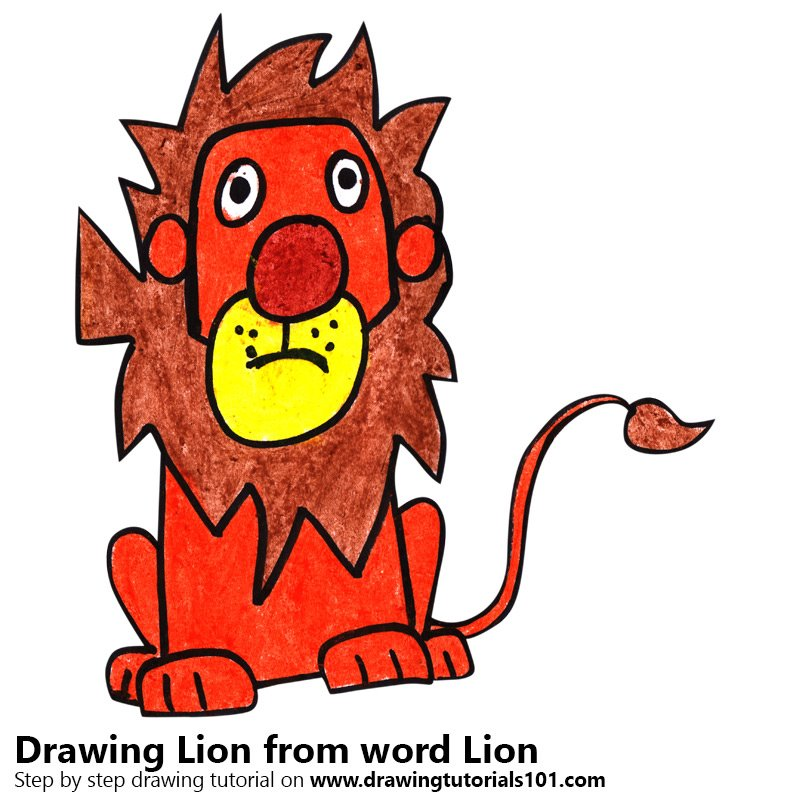 Lion From Word Lion Colored Pencils Drawing Lion From Word