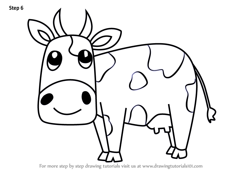 Learn How To Draw A Cartoon Cow Animals Step By