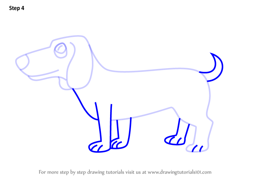 how to draw a dachshund step by step