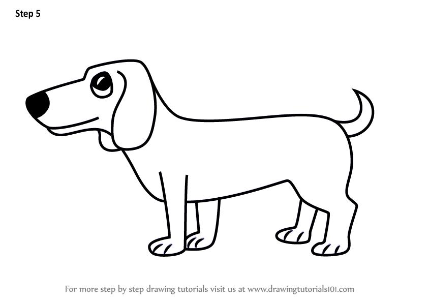 Learn How To Draw A Cartoon Dachshund Dog Cartoon Animals Step By Step Drawing Tutorials