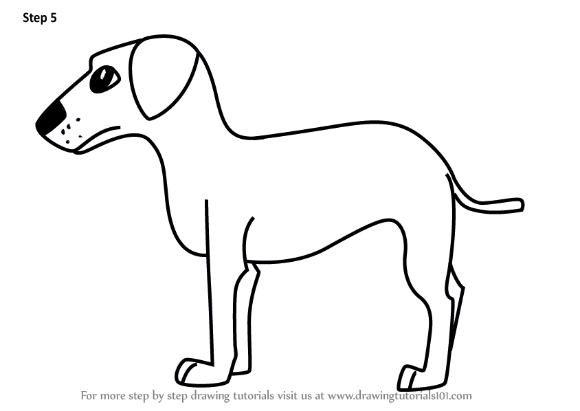 Learn How To Draw A Cartoon Dog For Kids Cartoon Animals Step By Step Drawing Tutorials