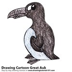 How to Draw a Cartoon Great Auk