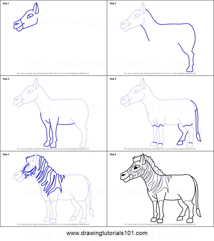 How to Draw a Cartoon Quagga printable step by step drawing sheet