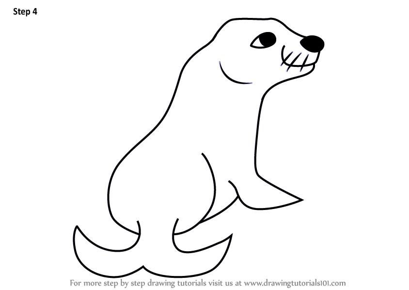 Learn How To Draw A Cartoon Sea Lion Cartoon Animals Step By Step