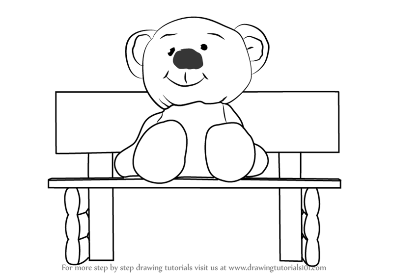 Pleasant Learn How To Draw Teddy Bear Sitting On Bench Cartoons For Machost Co Dining Chair Design Ideas Machostcouk