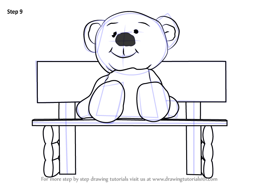 Learn How To Draw Teddy Bear Sitting On Bench Cartoons For Kids Step By Step Drawing Tutorials