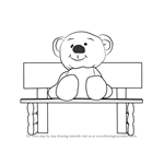 How to Draw Teddy Bear Sitting On Bench