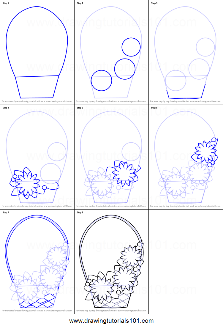 Step by step drawing tutorial on how to draw flowers basket for kids