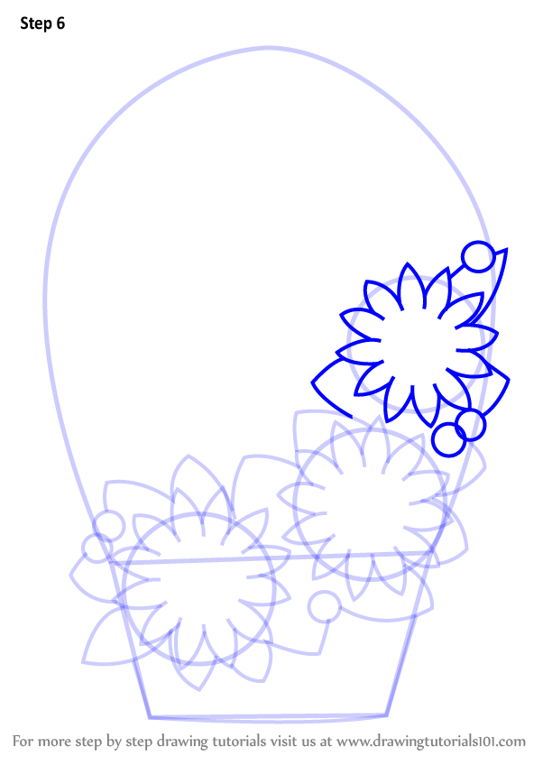 How To Draw A Flower Basket With Flowers : Learn how to draw flowers basket for kids step