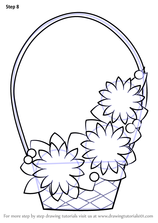 Learn How To Draw Flowers Basket For Kids Flowers Step By Step Drawing Tutorials