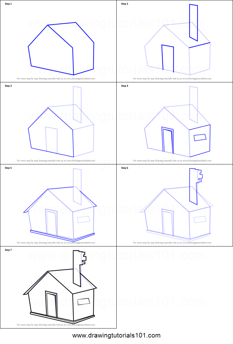 Step by step drawing tutorial on how to draw a house for kids easy
