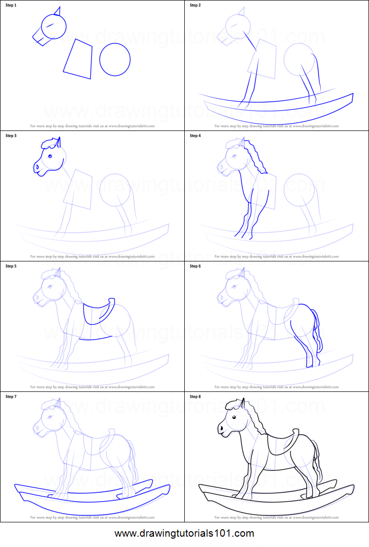 How To Draw Rocking Horse Printable Step By Step Drawing Sheet Drawingtutorials101 Com