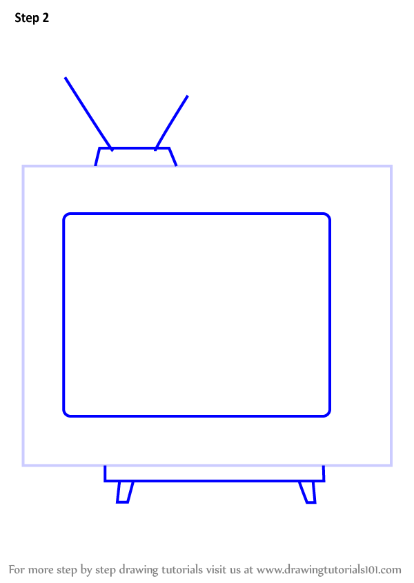 how to draw a television step by step