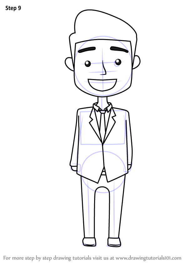 Learn How To Draw A Business Man For Kids People For Kids Step By