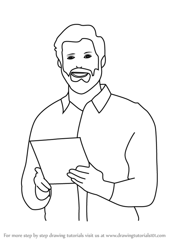 How to draw business person for kids