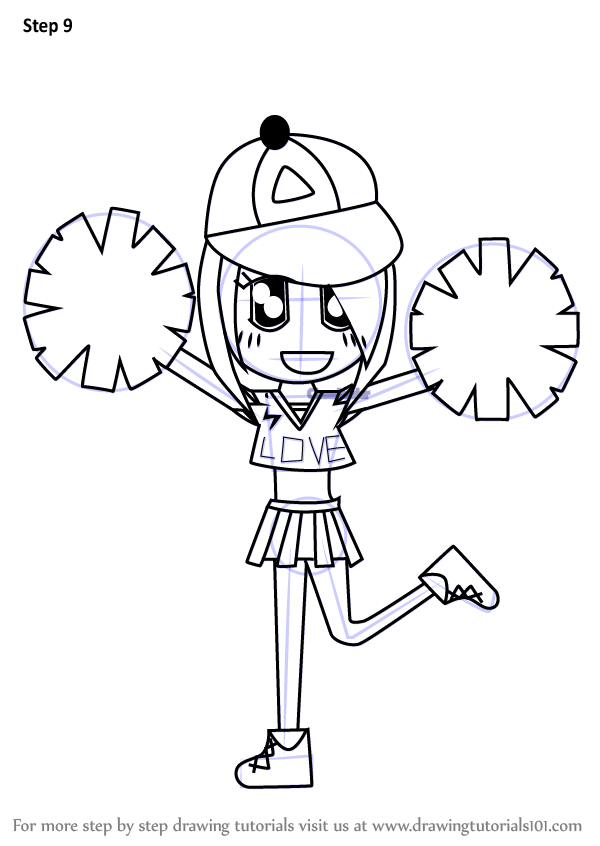 learn how to draw a cheerleader cartoon people for kids
