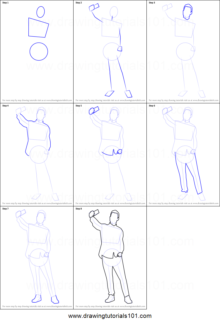 Step by step drawing tutorial on how to draw a man taking selfie