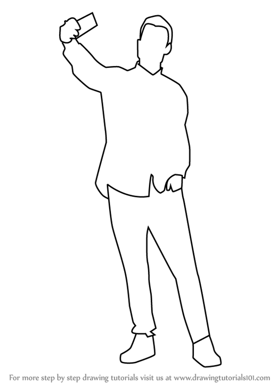 Learn how to draw a man taking selfie people for kids step by step drawing tutorials