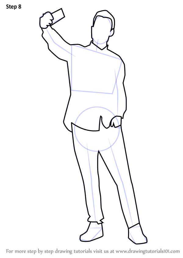 Step By Step How To Draw A Man Taking Selfie