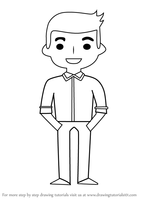How to draw standing boy for kids