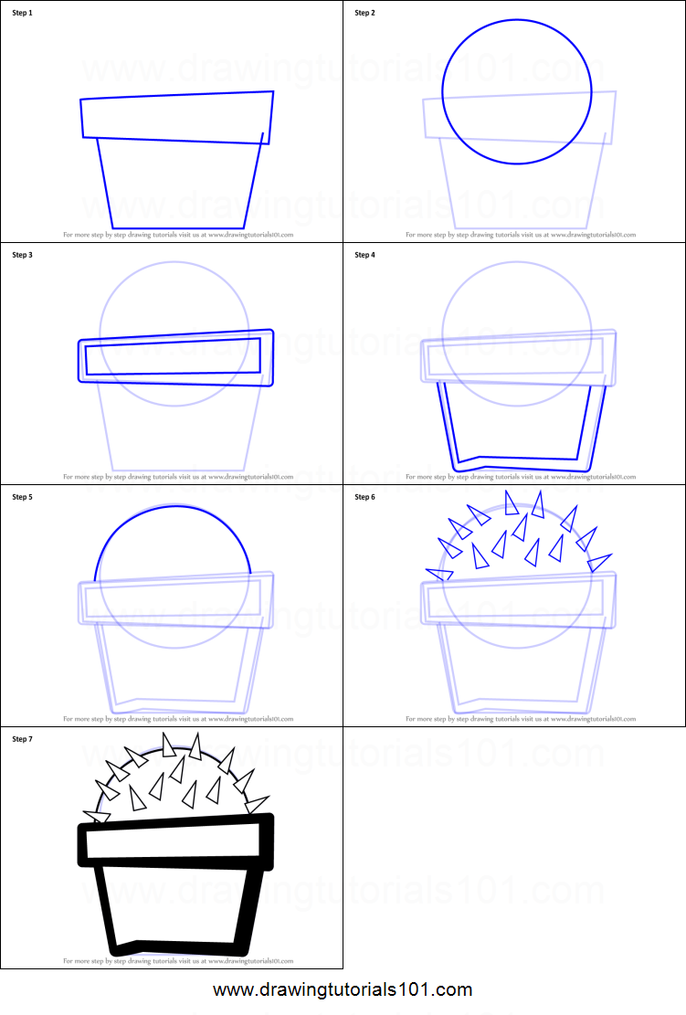 how to draw a cactus plant for kids printable step by step. Black Bedroom Furniture Sets. Home Design Ideas
