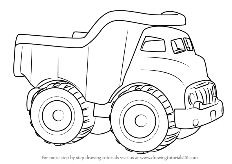 Learn How To Draw A Dump Truck For Kids Vehicles Step By