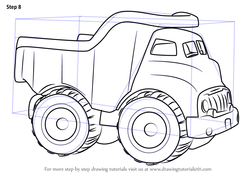 Learn How To Draw A Dump Truck For Kids (Vehicles) Step By