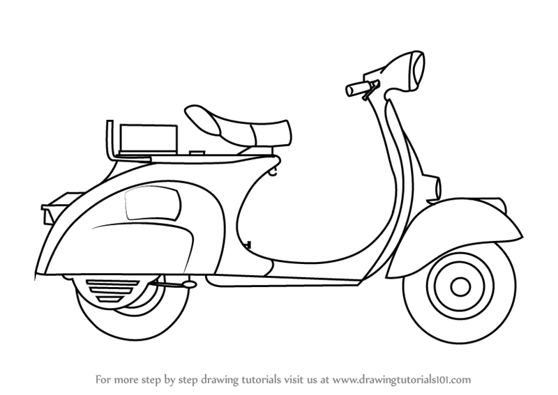 Learn How To Draw Scooter For Kids (Vehicles) Step By Step