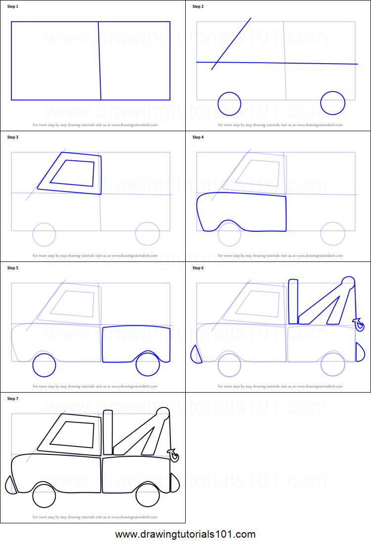 Uncategorized How To Draw A Truck Step By Step how to draw tow truck for kids printable step by drawing kids