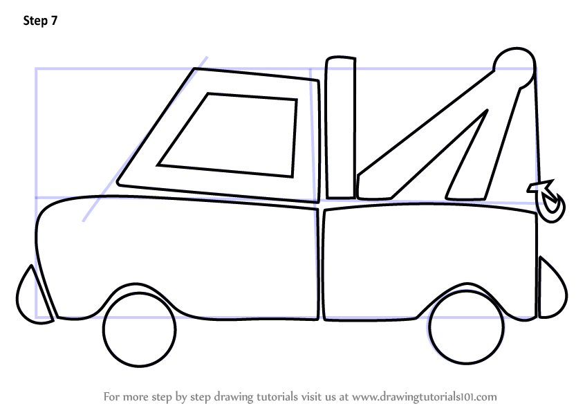 learn how to draw tow truck for kids vehicles step by