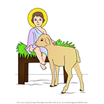 How to Draw Baby Jesus with Lamb