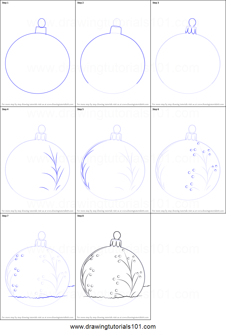 Step By Step Decorating Living Room: How To Draw A Christmas Bauble Printable Step By Step