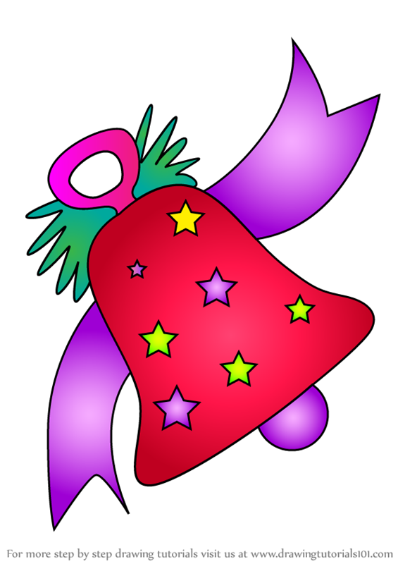 Learn How To Draw Big Holiday Bell Christmas Step By Step Drawing Tutorials