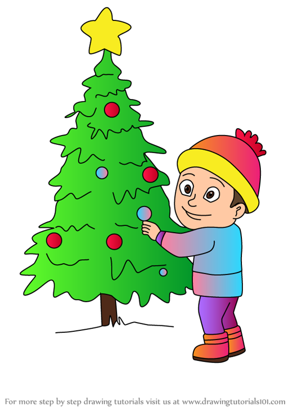 Draw Boy Looking at The Christmas Tree