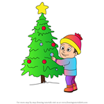 How to Draw Boy Looking at The Christmas Tree
