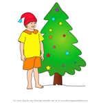 How to Draw Boy with Christmas Tree