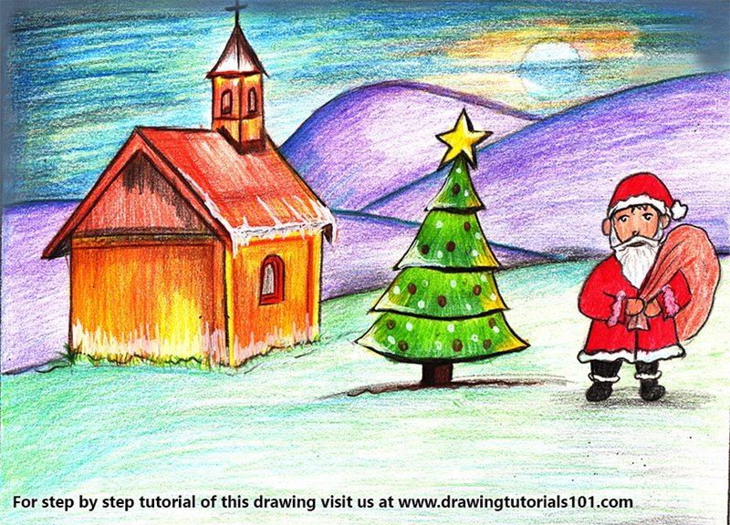 Chirstmas Scenery Color Pencil Drawing