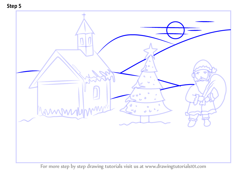 how to draw a scenery step by step
