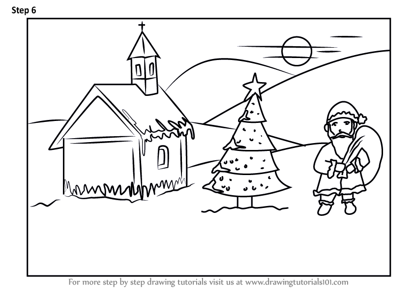 Learn How To Draw Chirstmas Scenery Christmas Step By