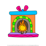 How to Draw Christmas Fireplace