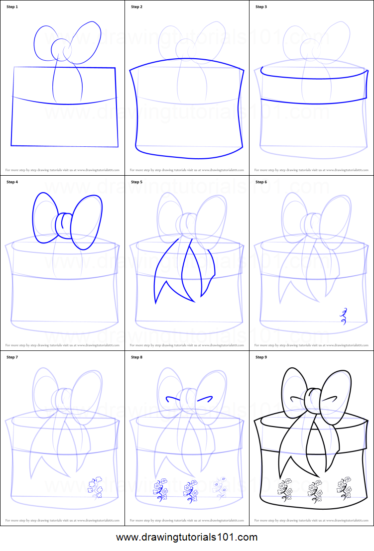 How To Draw Christmas Giftbox With Ribbon Printable Step By Step